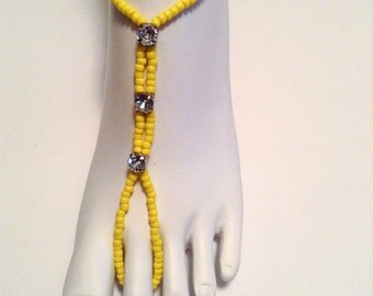 Barefoot Sandals Anklet Foot Jewelry Yellow Beach Sandals