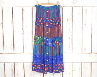 Colorful blue/red/green triped floral tiered boho gypsy vintage maxi skirt/tropical maxi skirt/Carol Little