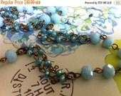 sale Double Strand segment French Finery Handmade Linked Beaded Chain 2 tone Aqua Turquoise Sky blue Crystal Beads