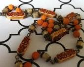 sale Moroccan Hippy flat rectangular rust and bone beaded chain