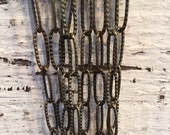 NEW Victorian Style High Quality Large link STAMPED design antique bronze 17.5 x 6 elongated oval link chain