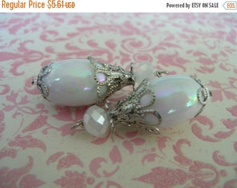 sale Vintage Style Wire wrapped capped dangle charms White iridescent lucite beads and rhodium plated caps 2 pcs.