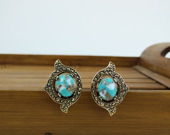 Faux Turquoise Earrings by Sarah Coventry / Vintage Clip-on