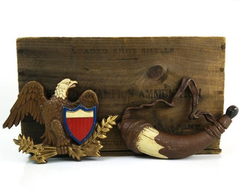 Bald Eagle & Powder Horn  die cast metal Sexton wall hangings / Revolutionary War