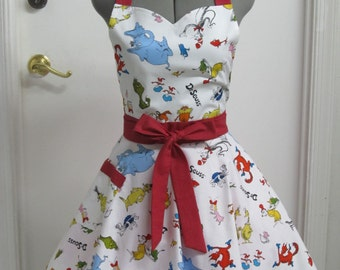 Dr. Seuss All Over Print Apron - Sweetheart Neckline - Awesome Hostess Apron - Ready to ship