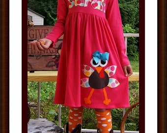 Toddler Turkey Dress -  Personalized Turkey Dress - Infant Toddler Youth Girl