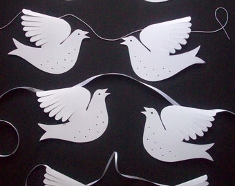 Paper Birds--A Dozen White Garland or Standing Doves