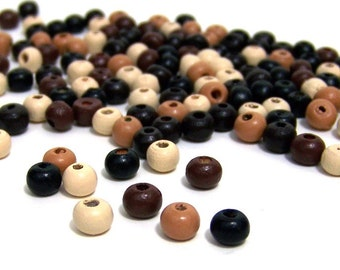 eco friendly wood beads, 6mm handcut round, mixed natural tones  (510R)