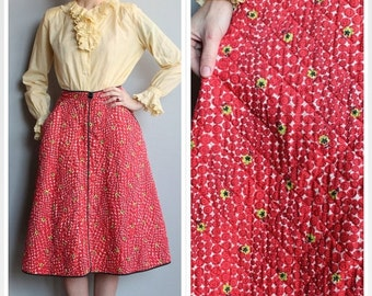 Sale 1950s Skirt // Quilted Loungees Skirt // vintage 50s full skirt