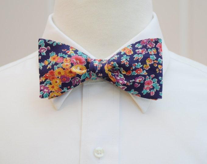 Men's Bow Tie, Liberty of London, indigo/purple/orange/aqua Tatum floral bow tie, groomsmen/groom bow tie, wedding bow tie, English bow tie