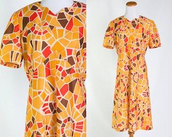 Vintage 1960s Yellow Orange Brown Mosaic Print Mod Shift Dress * Swingin 60s Geo Goldenrod Daffodil * Size Medium Large * FREE SHIPPING