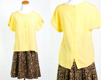 Yellow Silk Shirt w/ Tucks in Front & Buttons Down Back // Vintage 1980s 80s Simple Sweet Girly Blouse Top