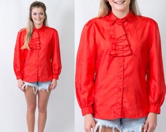 Vintage Bright Red Blouse w/ Ruffle at Neck // Bow Blouse Ascot Long Sleeve Top // Size Large // FREE SHIPPING
