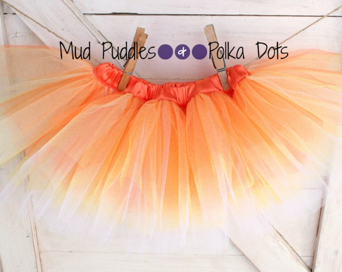 SIZE 0-12 Months - Ready to Ship - Candy Corn Satin Lined Tutu Skirt - Yellow, Orange, White, Baby, Infant, Thanksgiving, Halloween, HTT6