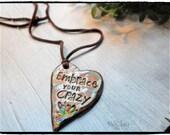 Essential Oil Diffuser Necklace Pottery Ceramic Add a drop to un glazed back of pendant