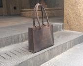 Redhook tote bag, handmade leather bag, dark brown leather handbag, travel/work/laptop bags & totes custom made by Aixa Sobin bag maker