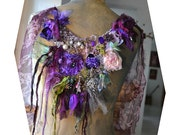Unique Art to Wear Green Purple Necklace WILD ORCHIDS in Dep Forest Fairy Marie Antoinette Silks Silk Velvet Beads Tattered