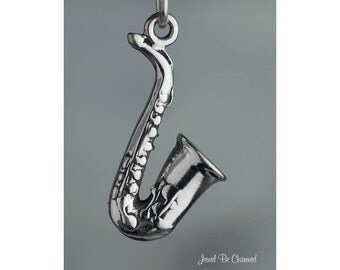 Sterling Silver Saxophone Charm Instrument Music Saxophonist Solid 925