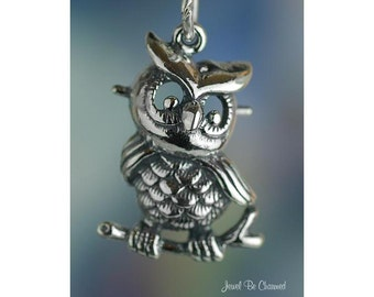 Sterling Silver Retro Style Owl Charm Large Fun Owls Bird Solid .925