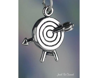 Sterling Silver Target with Arrow Archery Charm Archer 3D Solid .925