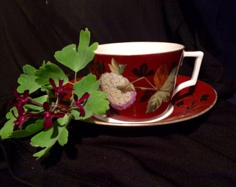 Early Vintage Tea Cup & Saucer - Hand Painted - Hydrangea Flower - 19th Century - Russet - Coffee Can Shape - 1800's