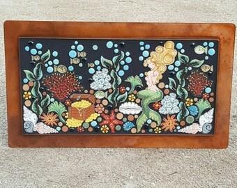 MOSAIC WALL ART garden patio pool decor outdoor art. Handmade ceramic mermaid under the sea, art tile.