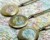 CUSTOM Vintage Map Locket. You Select Location Worldwide. One Locket. Travel Locket. World Locket. Personalized Locket. Personalised Locket.