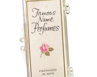 Vintage Perfume Nips in Glass Tubes Famous Name Perfumes Case - 1950s Beauty Secrets Cosmetics Retro Fragrance