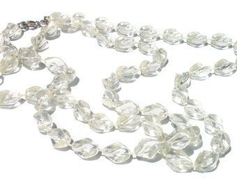 "Sarah Coventry Ice Lucite Necklace – Crystal Clear Vintage Jewelry 36"" Extra Long"