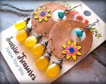 Handforged Copper Earrings, Handpainted Flower Earrings, Big Bohemian Earrings, Hippie Earrings, Yellow Earrings, Colorful Earrings