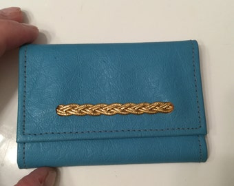 Vintage Blue Leather Keycase Key Case With Gold Braided Detail