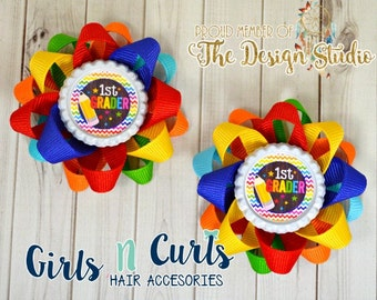 Ready To Ship Set of TWO Grade School Loopy Flower Hair Bow