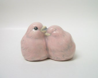 Pink Lovebirds Wedding Cake Topper, Wedding Gift, Anniversary Gift, Home or Garden Decor, Ceramic Love Birds, Gifts Under 30