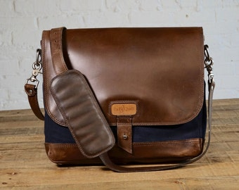 SECONDS - The Satchel - Navy/Chocolate