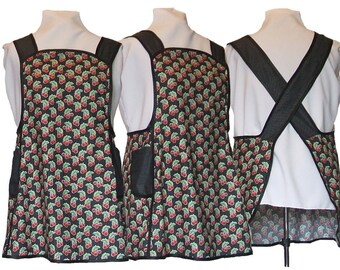 Plus size Apron, Cherry Apron, Cross Back Apron, Cherries and Polka dots on black - Made to Order Sizes XL, 2X, 3X, 4X, 5X