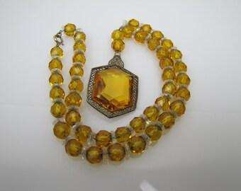 Art Deco Czech Topaz Glass Y Lariat Necklace. Filigree Silver Yellow Citrine Crystal Pendant. Great Gatsby 1930s Art Deco Czech Jewelry