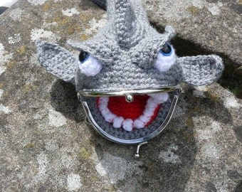 Crochet Novelty Grey Purse Shark