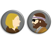Margot and Richie Tenenbaum Badges - Set of 2 Wes Anderson The Royal Tenenbaums Buttons or Magnets