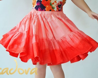 Girl's dip dyed twirly skirt in Flamingo Pink