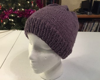 Hand Knitted Purple Acrylic Hat
