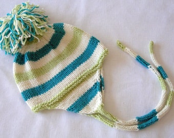 Knit Earflap Hat in Aqua and Green