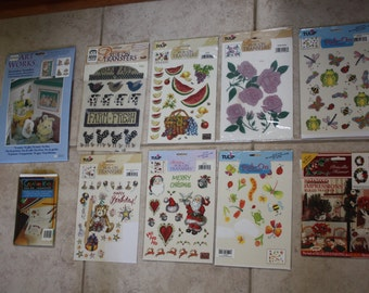 Big Lot Destash Vintage Rub-on Transfers/10 Packages Rub-on Transfers/Kid's/Christmas/Bugs/Flowers/Birthday/Folk Art/Fruit/Frogs/Bunnies