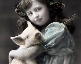 Her Christmas Pig Instant Download Vintage Photograph