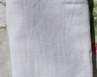 Antique Vintage French Fabric Pure Hemp Linen Material Champagne Oyster Flax Twill Weave