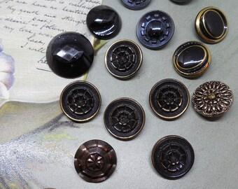 17 Antique Black Glass Button Lot