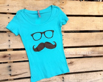 Mustache Scoop Neck T-shirt