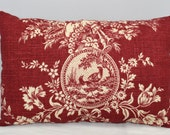 Lumbar Pillow  Waverly Red and Off White Country House Toile    14 x 9 inches