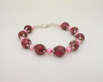 Freshwater Pearls and Gemstone Bracelet, Pink Bracelet, Elegant Bracelet, UK Seller