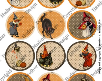 Vintage Halloween Pumpkin Black Cat Witch Words Sayings Victorian Digital Collage sheet Printable DIY Tags