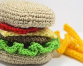 Hambuger Play Food, Pretend Play Kitchen Food, Fast Food Set, Crochet Plush Burger, BBQ Play Food Lunch, Kids Gift Cheeseburger French Fries